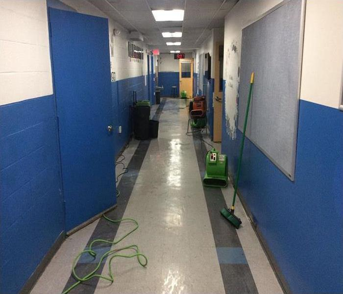 water damage to basement classrooms