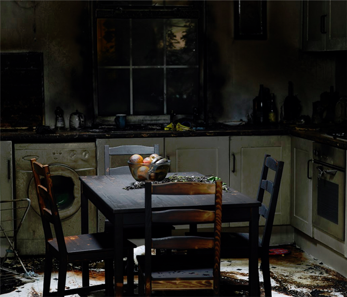 kitchen of a house burnt from a fire