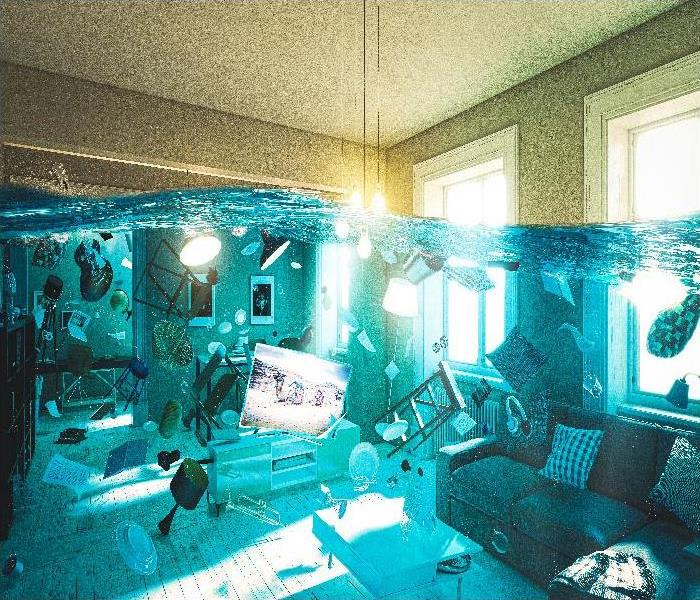 room flooded with floating objects