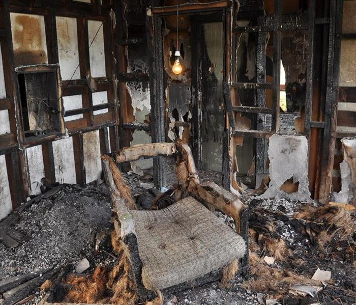 fire damaged room in a home